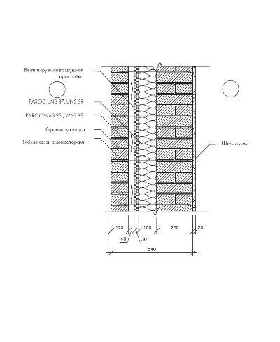 Трёхслойная кирпичная стена с воздушной прослойкой