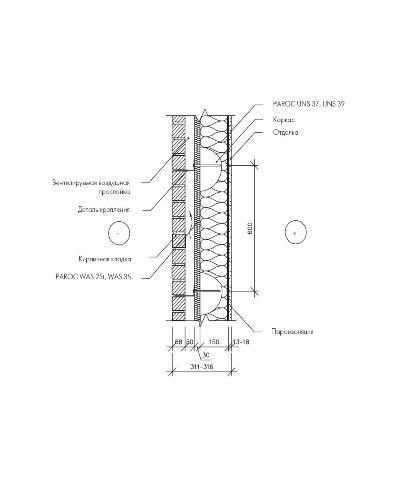 Обмурованная стена деревянного каркаса с применением ветроизоляционной плиты Paroc WAS 25t или Paroc WAS 35