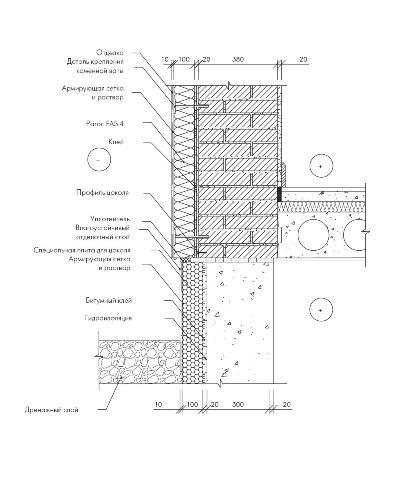 Утепление кирпичной стены и цоколя фундамента плитой Paroc FAS 4
