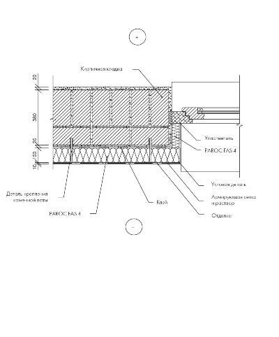 Деталь установки оконного блока в стене утеплённой плитой Paroc FAS 4