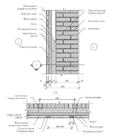 Кирпичная стена, утеплённая снаружи, с применением деревянного каркаса